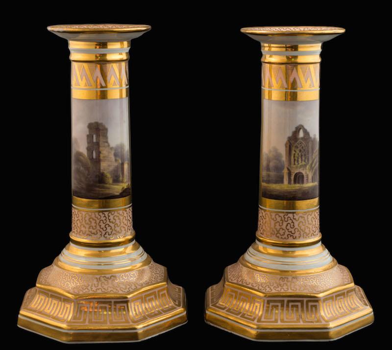 A pair of Barr Flight & Barr [Worcester] 'Music' candlesticks