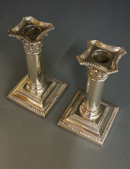 Antique Pair Of Silver Edwardian Dwarf Candlesticks