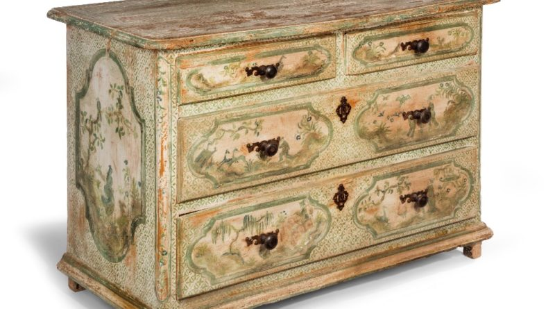 Painted French pine commode with Chinoiserie decoration, c1850.