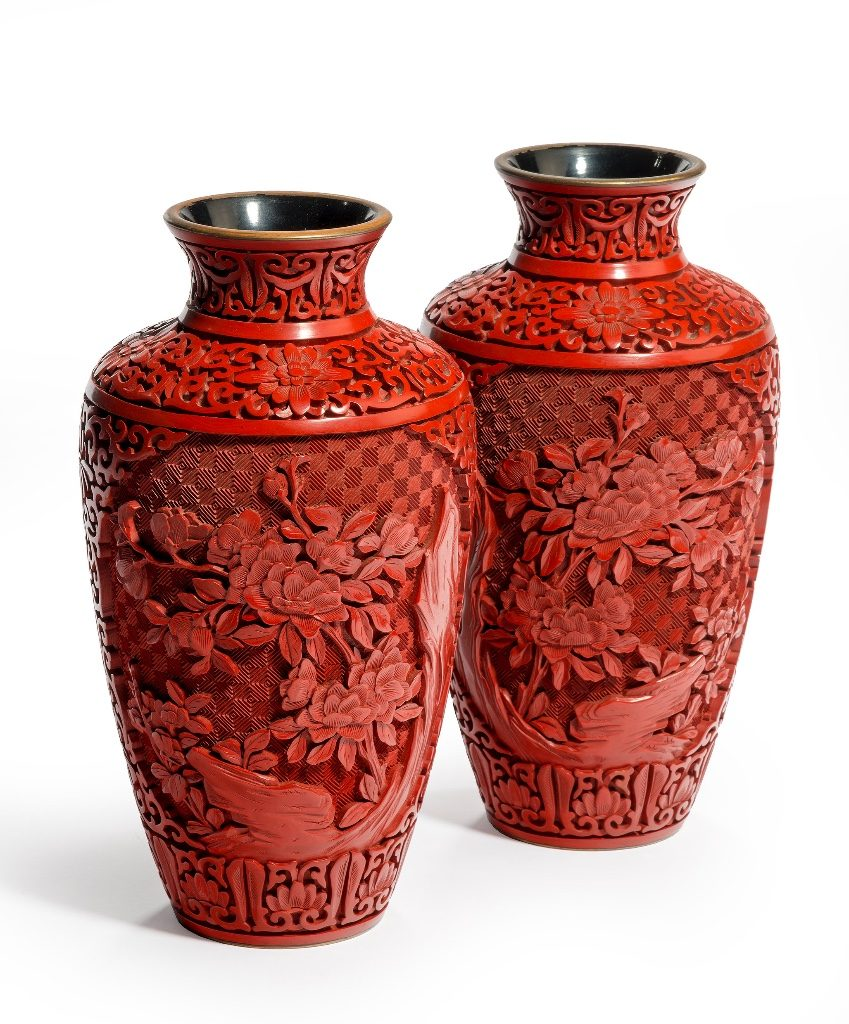 Pair of red carved lacquer 'cinnabar' vases, C20th.