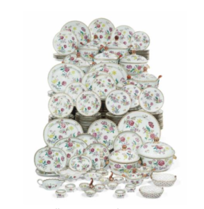 Famille Rose porcelain part dinner service