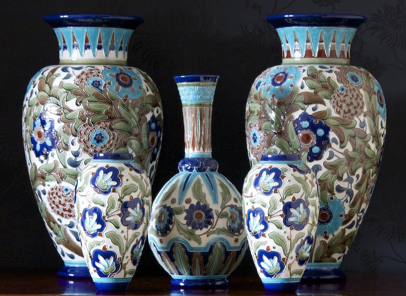Selection of Burmantofts partie-colour ware