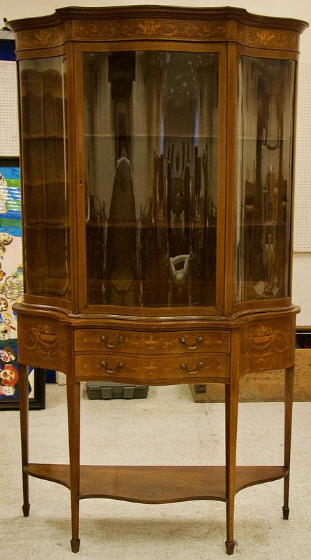 Antique Edwardian mahogany cabinet in Sheraton revival style