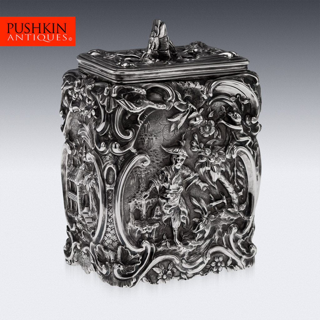 Exceptionally rare 18th century George II rococo solid silver tea caddy, of rectangular form, profusely embossed in the Chinoiserie taste with a maker's mark for William Cripps and hallmarked for London, year 1758.