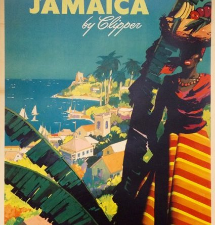 A vintage Fly to Jamaica airline poster