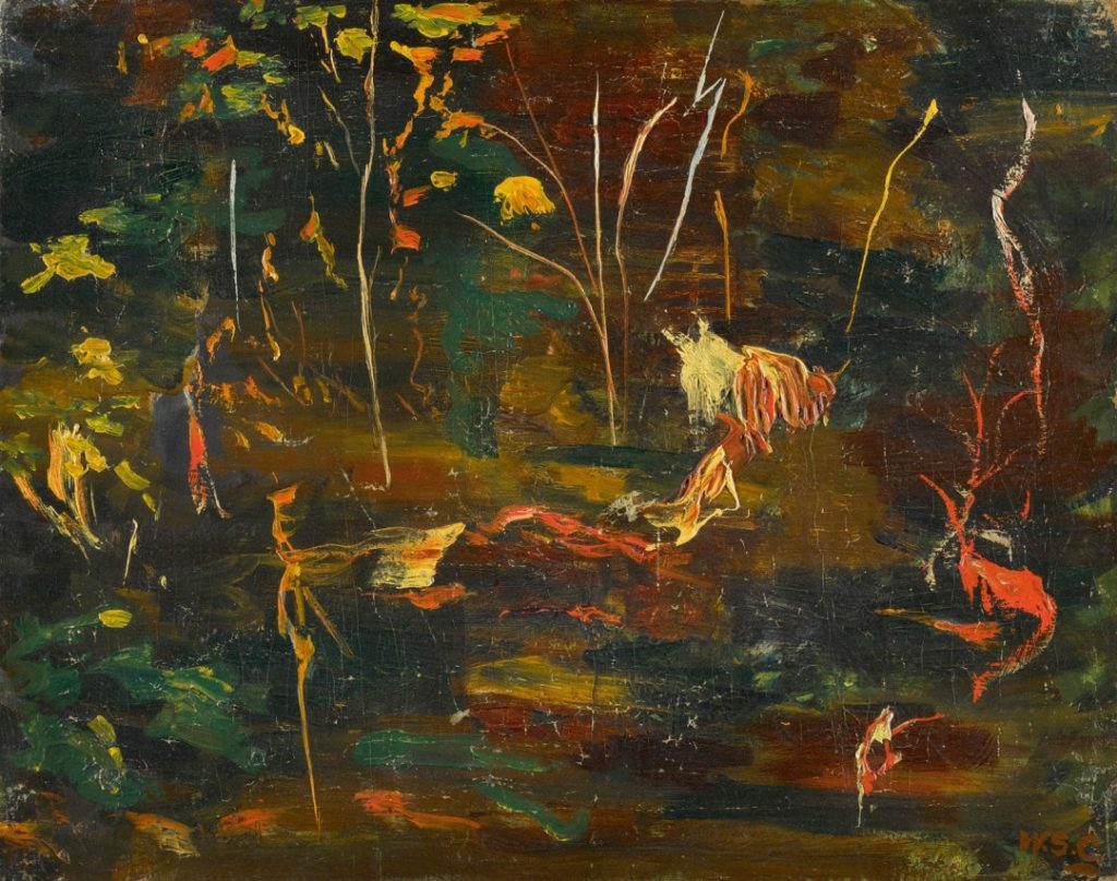 Goldfish pond painting by Sir Winston Churchill