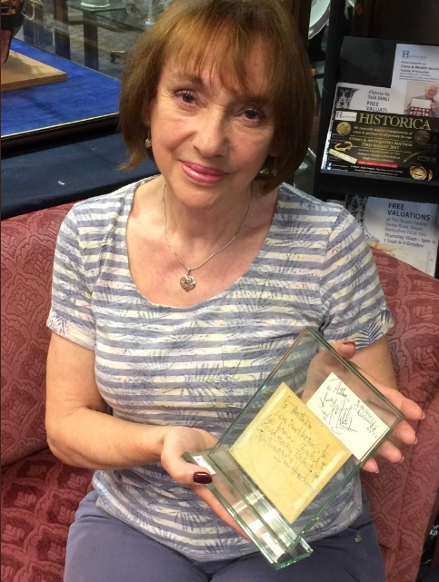 Anthea Connell with her Jimi Hendrix autograph