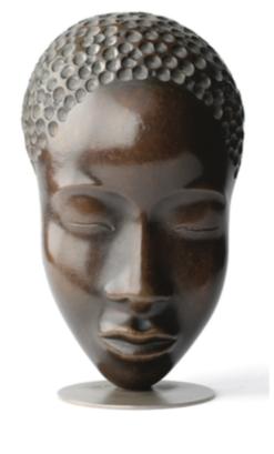Antique cold-painted bronze head