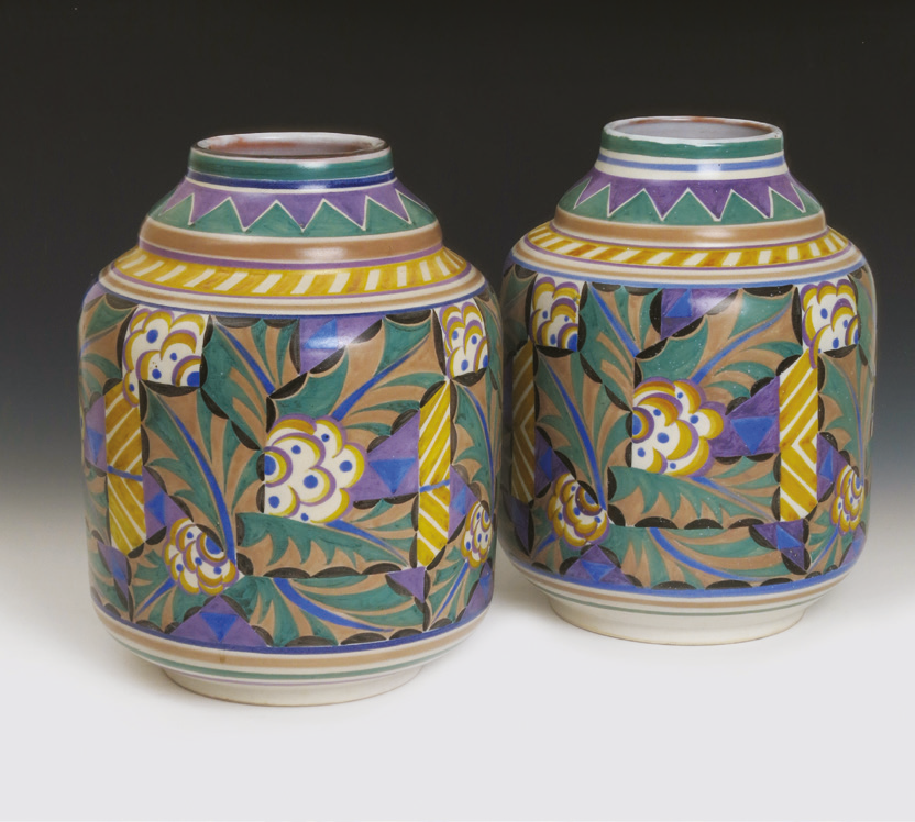 Poole vases decorated in the 'Holly' pattern