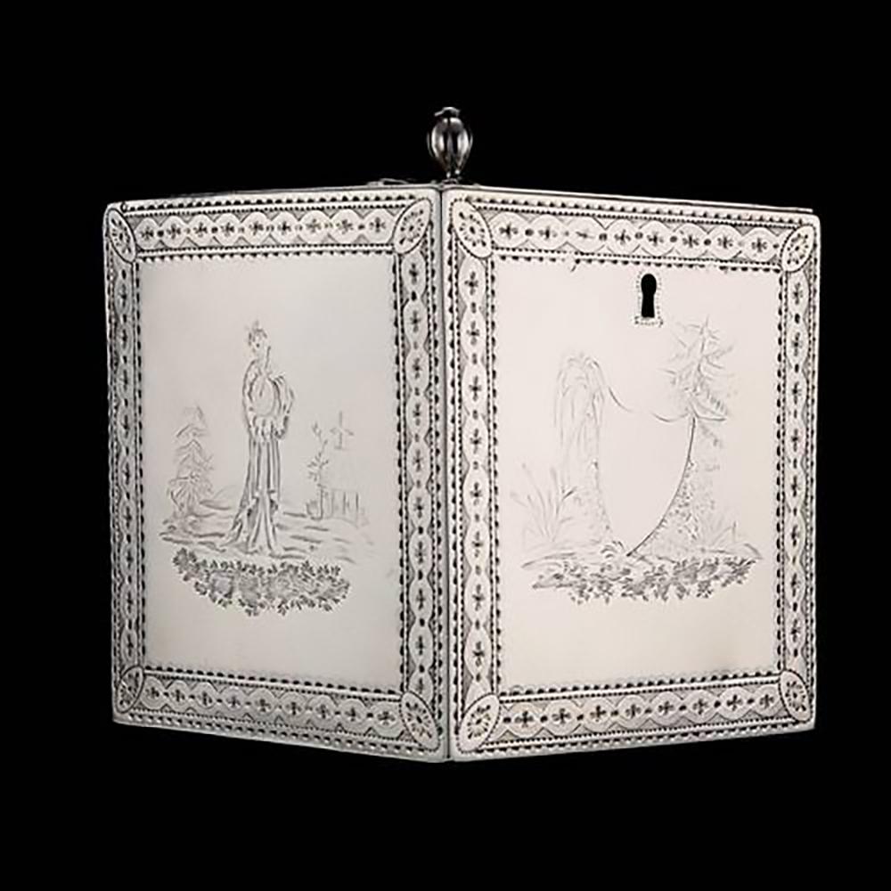 Rare 18th century silver tea caddy
