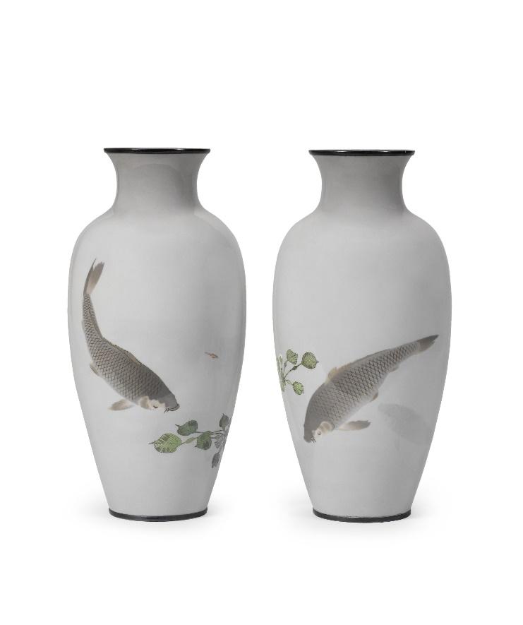 cloisonne enamel baluster vases