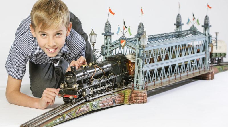Antique German tin train set