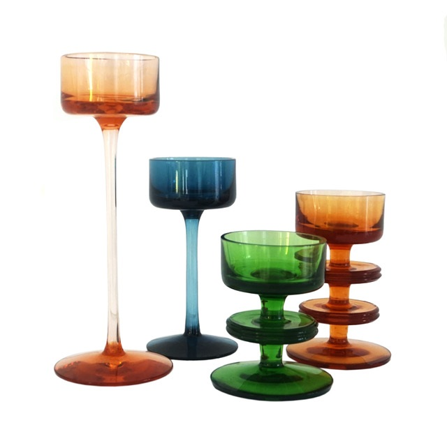 British coloured glass candle holders, c1970, more available - Christine Murray
