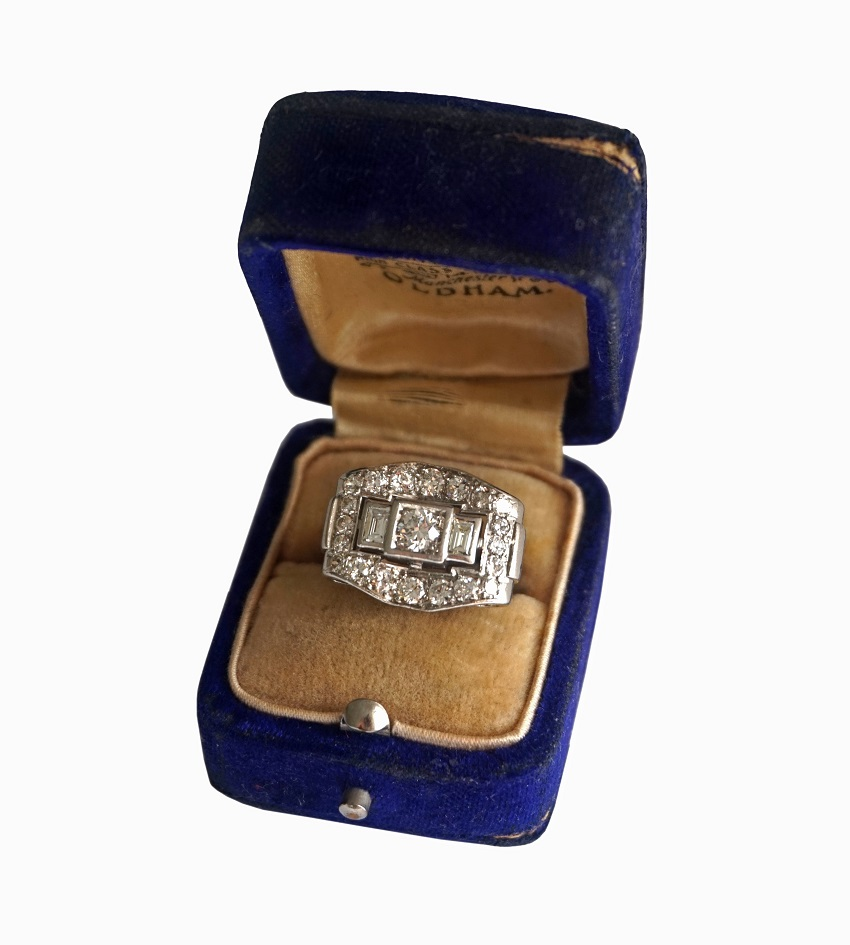 French Art Deco Diamond Ring set in Platinum circa 1920 £2,400