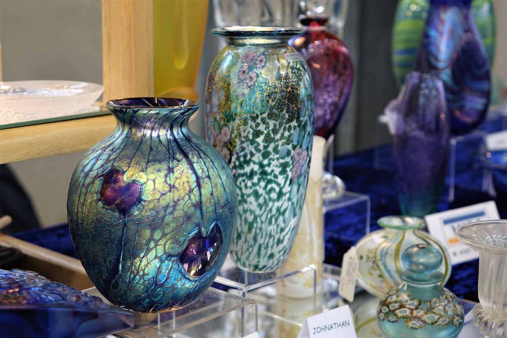 Antique glassware at Newbury Antiques Fair