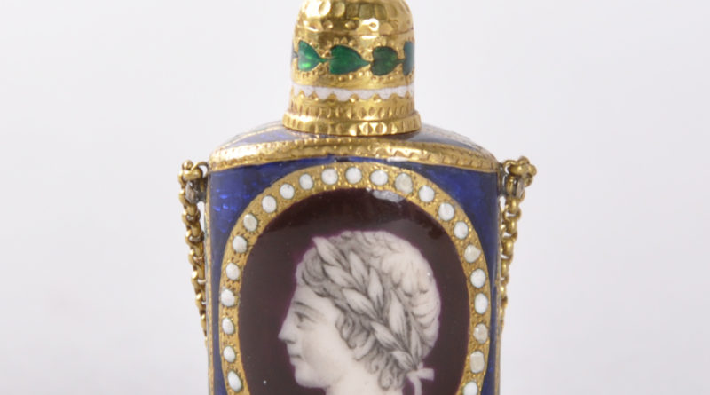 Louis XVI period gold and enamel oval perfume bottle