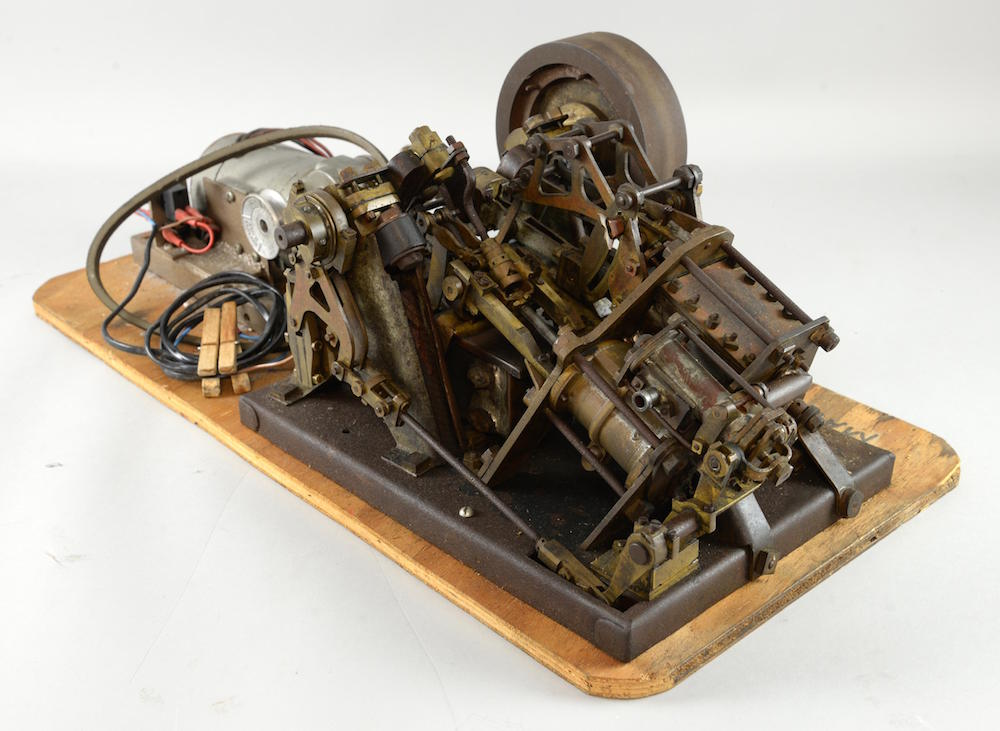 A scratch-built model of an 1850s steamer engine, mounted on board and with electric engine, has guide price of between £400 and £600