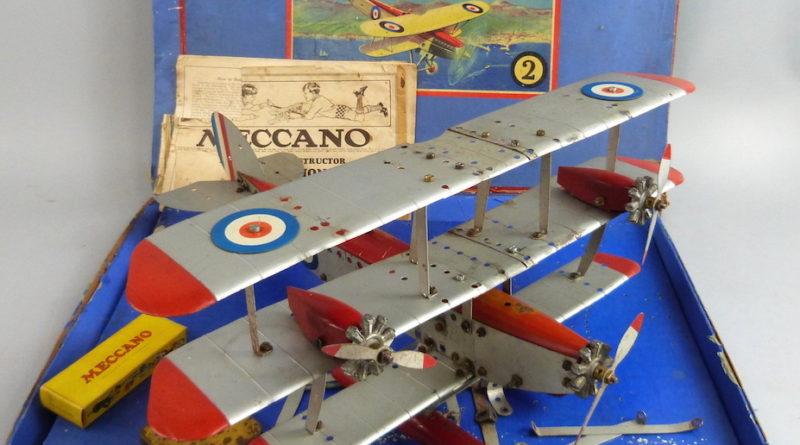 a Meccano tri-plane with box