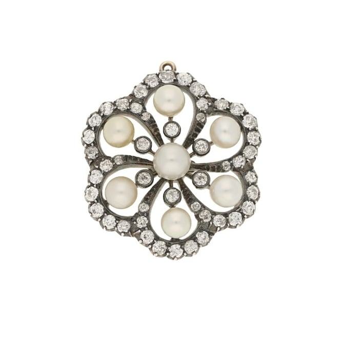 Victorian antique pearl and diamond brooch available at Susannah Lovis