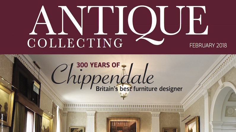 Front cover of February 2018 issue of Antique Collecting magazine