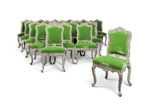 Property from the Collection of Sir David and Lady Tang A Set of Twenty Louis XV - Style Silver -Painted Chairs £5,000 – 8,000